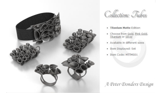 The fifth collection is called Tubes... available in Gold, Pink Gold, Titanium and Silver.